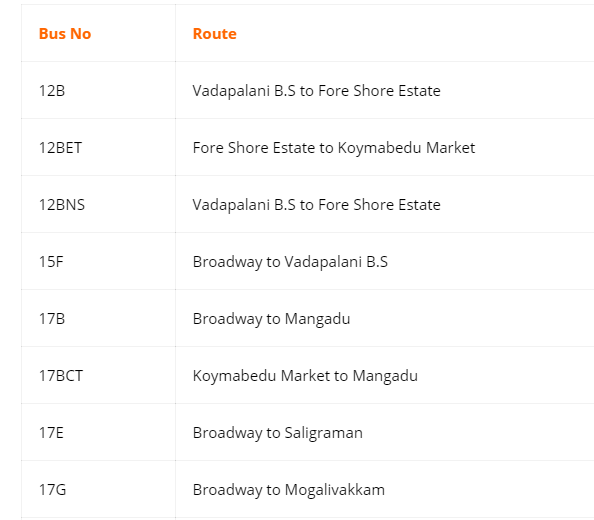 Vadapalani Murugan Temple Bus Timings