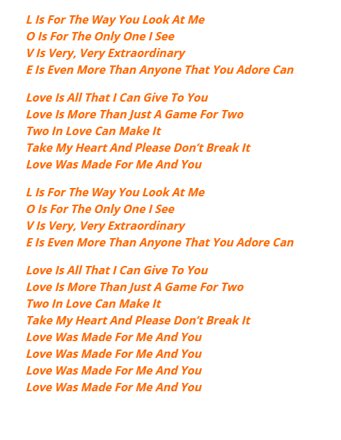 l is for the way you look at me lyrics