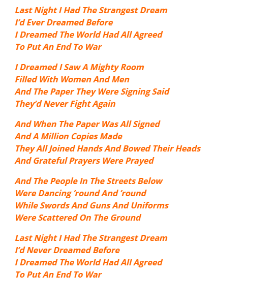 last night i had the strangest dream lyrics